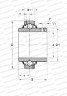 SERIE GY..-KRR-B-AS2/V(INA), SEALS ON BOTH SIDE, 2 LUBRICATION HOLE OFFSET ON BOTH SIDE, INCH SIZE